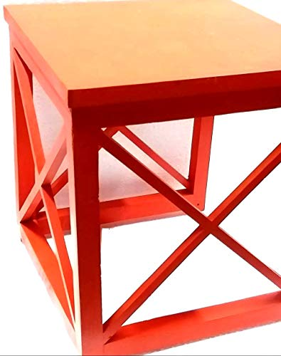 Elegant Crisscross Designed Multipurpose Side Table - Orange Color (Model: 178) - Hire-it Technologies