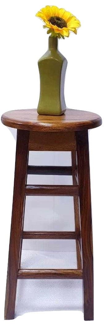 Sheesham Wood Bar Stool- Round Shape-Walnut Brown Color (Model: 140) - Hire-it Technologies
