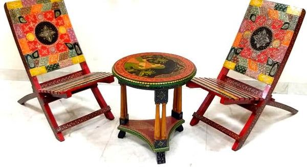 Wooden Folding Portable 2 Chairs & 1 Round Table - Multi Color (Model: 128)
