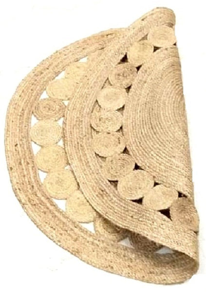 Jute Round Shape Single Piece Floor Rug - 122 X 122 cm - Beige Color (Model: 116) - Hire-it Technologies