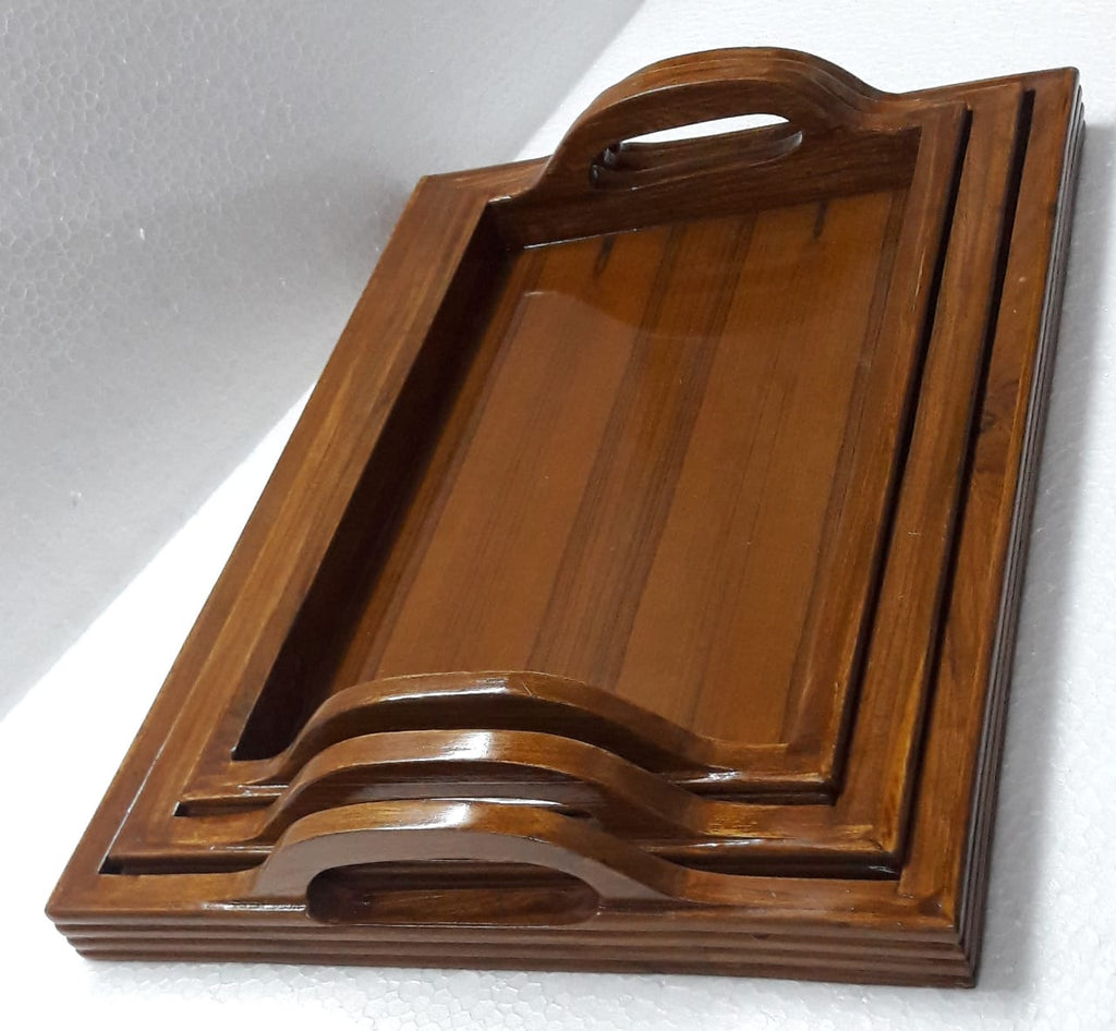 Fine Teak wood Serving Tray With handles - Set of 3 (Model: 164) - Hire-it Technologies