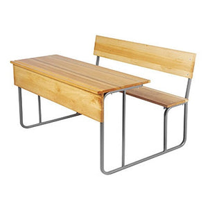 Classroom Desking & Seating - Two Seater - Teak Wood Colour