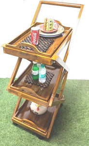 Designer Wooden Dinning/Kitchen / Service Trolley with Detachable Trays 15 X 25 X 38 cms - Hire-it Technologies