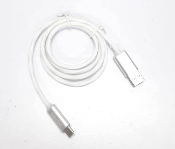 USB 2.0 Type Data Cable - Type C - White -1 Meter - 480 Mbps Transfer Speed - with Colour Changing LED at Both Ends & Wire