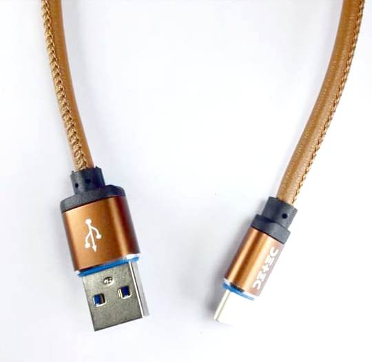 USB 2.0 Type Data & Charging Cable - Type C Charging Port - Brown Leather -1 Meter - 480 Mbps Transfer Speed