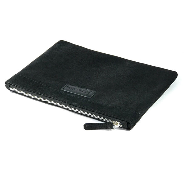 Black Panel Leather Clutch