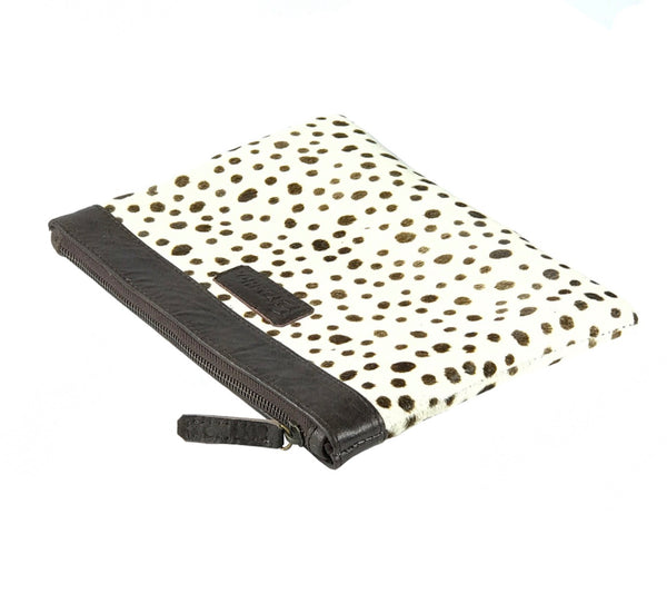 White Leopard Leather Clutch