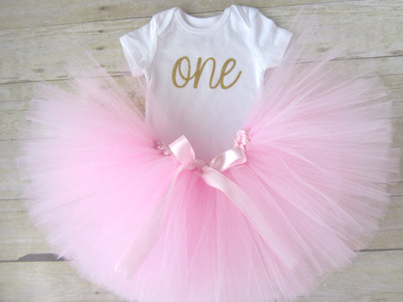 "1st Birthday Tutu Outfit with Glitter ""ONE"" - Super Capes and Tutus, Tutu Skirt, [product_tags], Super Capes and Tutus"