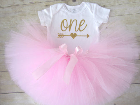 "1st Birthday Tutu Outfit with Glitter ""ONE"" and Arrow"