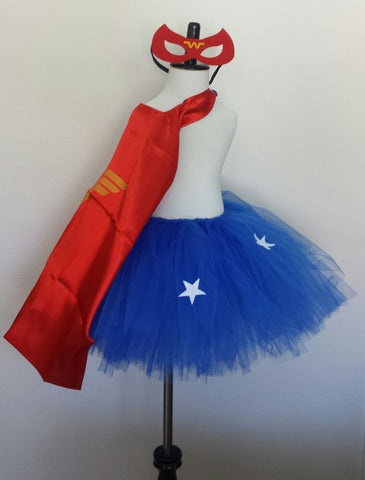 Super Red Girl Inspired Tutu with Cape and Masks - Super Capes and Tutus, Tutu Dress, [product_tags], Super Capes and Tutus