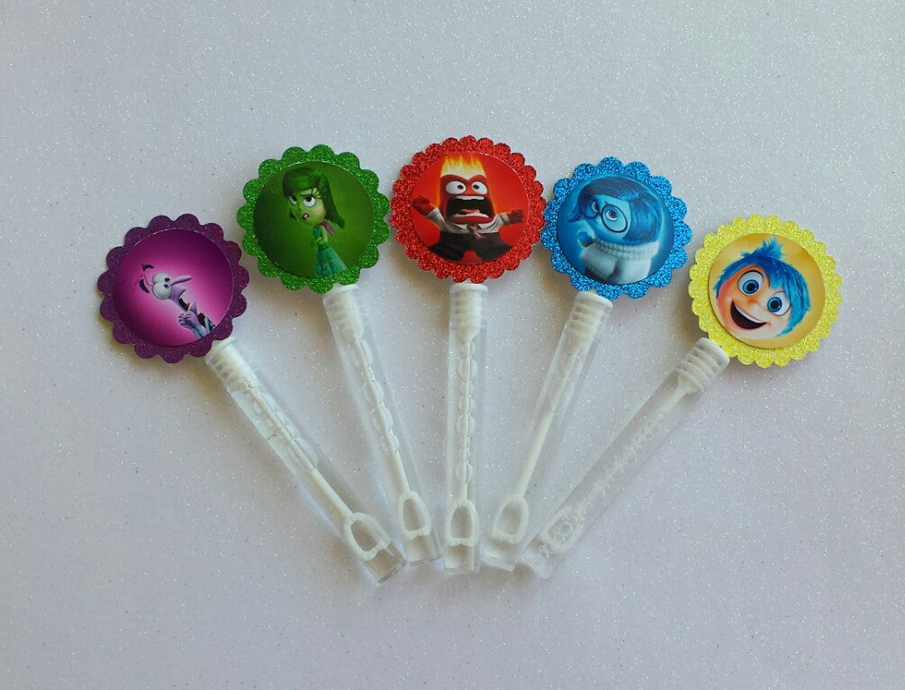 10 Custom Inspired Disneys Inside Out Bubble Wands/ Bubble Wands Party Favors