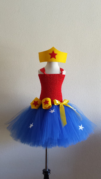 Super Woman Tutu Dress with Crown and Wristband Cuffs