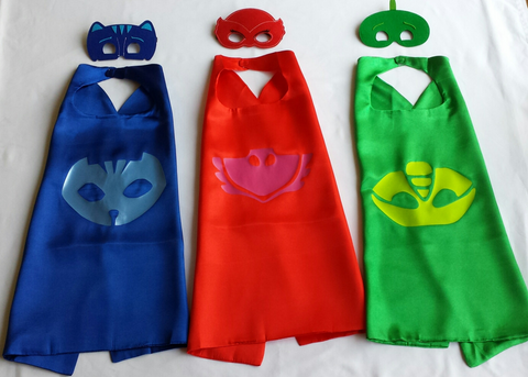 Party Packs!! PJ Mask Superhero Cape with Logo and Mask - Super Capes and Tutus, Superhero Cape and Mask Party Pack, [product_tags]