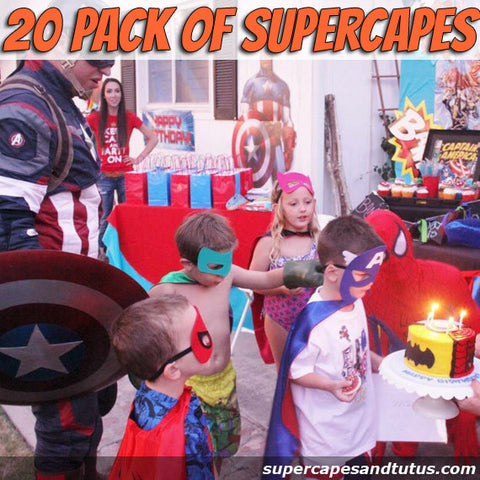Party Pack 20 Superhero Capes/ Birthday Party Favors - Super Capes and Tutus, Superhero Cape and Mask Party Pack, [product_tags]
