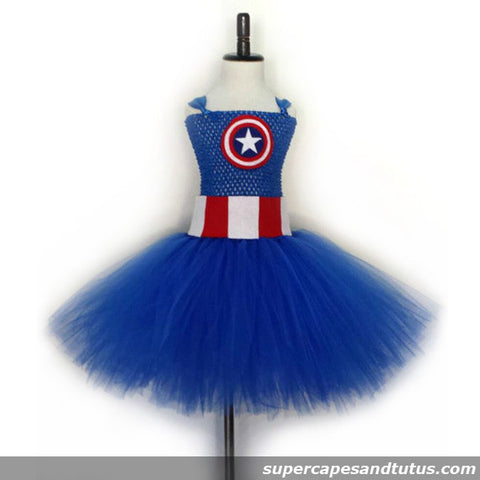 Captian America Inspired Tutu Dress - Super Capes and Tutus, Tutu Dress, [product_tags]