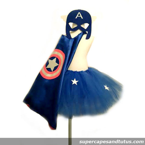 Captain America Inspired Tutu, Cape, and Mask Costume