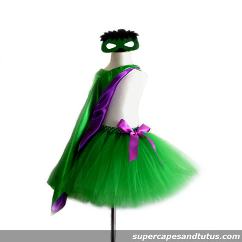 Hulk Inspired Tutu with Cape and Mask - Super Capes and Tutus, Tutu Skirt, [product_tags]