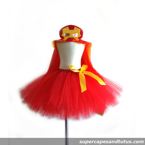 Iron Man Inspired Tutu with Cape and Mask - Super Capes and Tutus, Tutu Skirt, [product_tags]