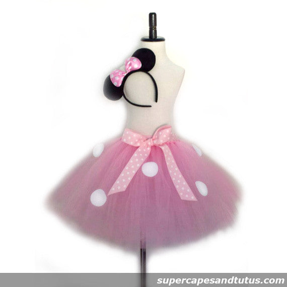 Pink Minnie Mouse Inspired Tutu with Ear Headband - Super Capes and Tutus, Tutu Skirt, [product_tags]