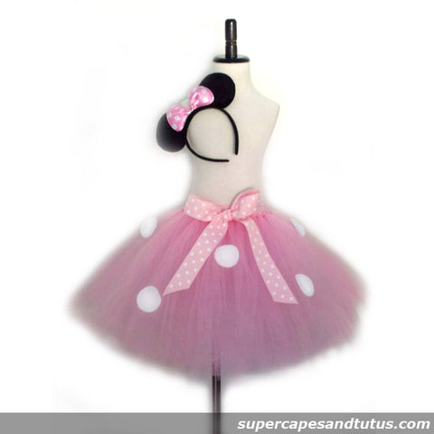 Pink Minnie Mouse Inspired Tutu with Ear Headband - Super Capes and Tutus, Tutu Skirt, [product_tags], Super Capes and Tutus