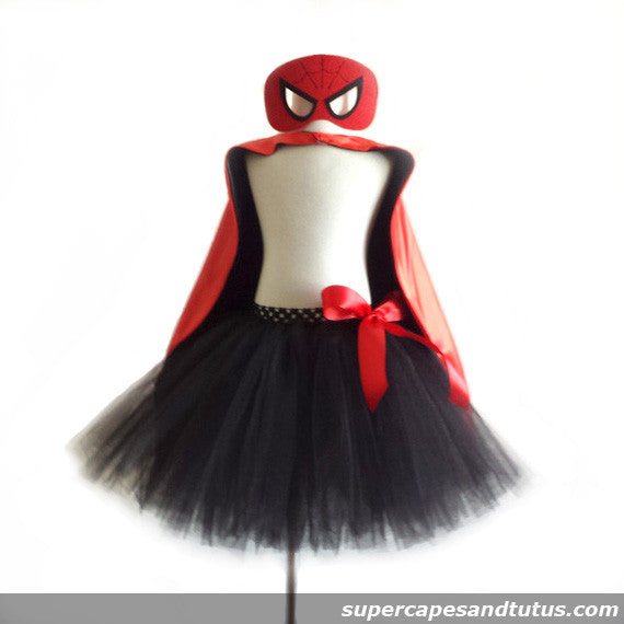 Spiderman Inspired Tutu with Cape and Mask - Super Capes and Tutus, Tutu Skirt, [product_tags]