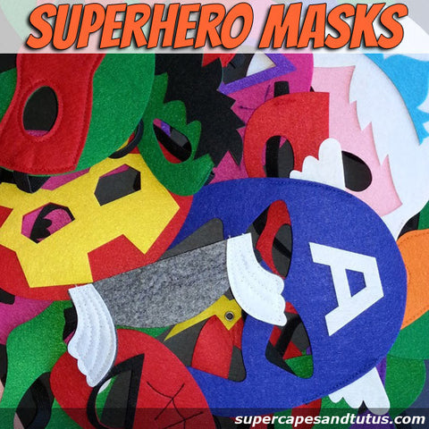 Sale! Party Pack 5 Superhero Masks - Ready to Ship (Party Favors/ Christmas Gifts/ Stocking Stuffers/ Costumes) - Super Capes and Tutus, Superhero Masks, [product_tags]