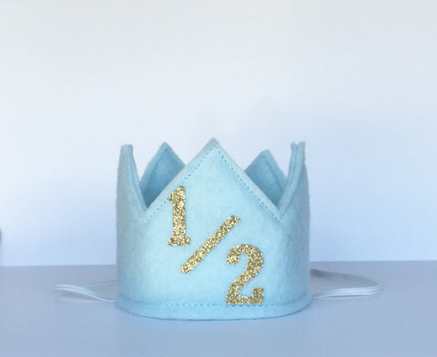 Light Blue and Gold 1/2 Birthday Crown/ 1/2 Birthday Crown - Super Capes and Tutus, Birthday Hats, [product_tags], Super Capes and Tutus