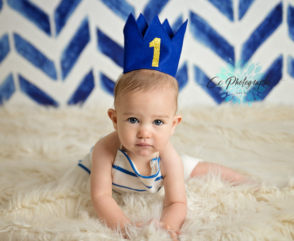 Blue Birthday Boy Crown/ 1st Birthday Crown - Super Capes and Tutus, Birthday Hats, [product_tags], Super Capes and Tutus