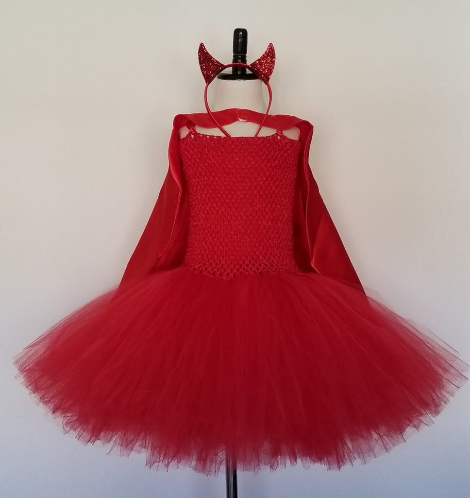 Devil Tutu Dress with Cape, Horns and Tail - Super Capes and Tutus, Tutu Dress, [product_tags], Super Capes and Tutus