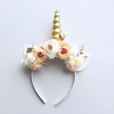 Floral Unicorn Headband - Ivory and Peach