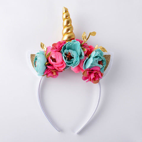 Floral Unicorn Headband - Aqua and Hot Pink - Super Capes and Tutus, Headbands, [product_tags], Super Capes and Tutus