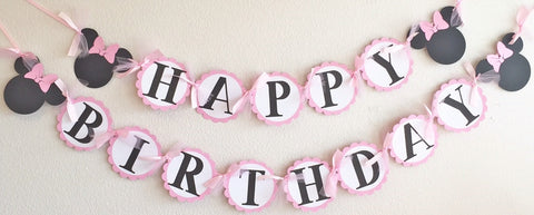 Light Pink White Polka Dot Minnie Mouse Happy Birthday Banner - Super Capes and Tutus, Birthday Party Banners, [product_tags]