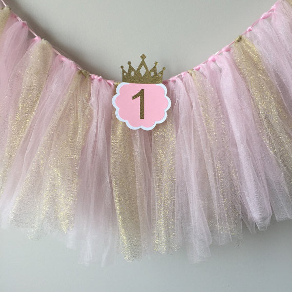 Pink and Gold Tulle with ONE High Chair Birthday Banner - Super Capes and Tutus, Birthday Party Banners, [product_tags], Super Capes and Tutus