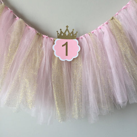Pink and Gold Tulle with ONE High Chair Birthday Banner - Super Capes and Tutus, Birthday Party Banners, [product_tags]