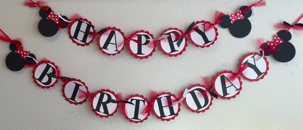 RED White Polka Dot Mouse Happy Birthday Banner - Super Capes and Tutus, Birthday Party Banners, [product_tags], Super Capes and Tutus