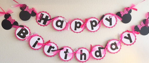 PINK White Polka Dot Mouse Happy Birthday Banner - Super Capes and Tutus, Birthday Party Banners, [product_tags], Super Capes and Tutus