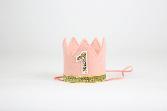 Pink and Gold Birthday Girl Crown/ 1st Birthday Crown - Super Capes and Tutus, Birthday Hats, [product_tags]