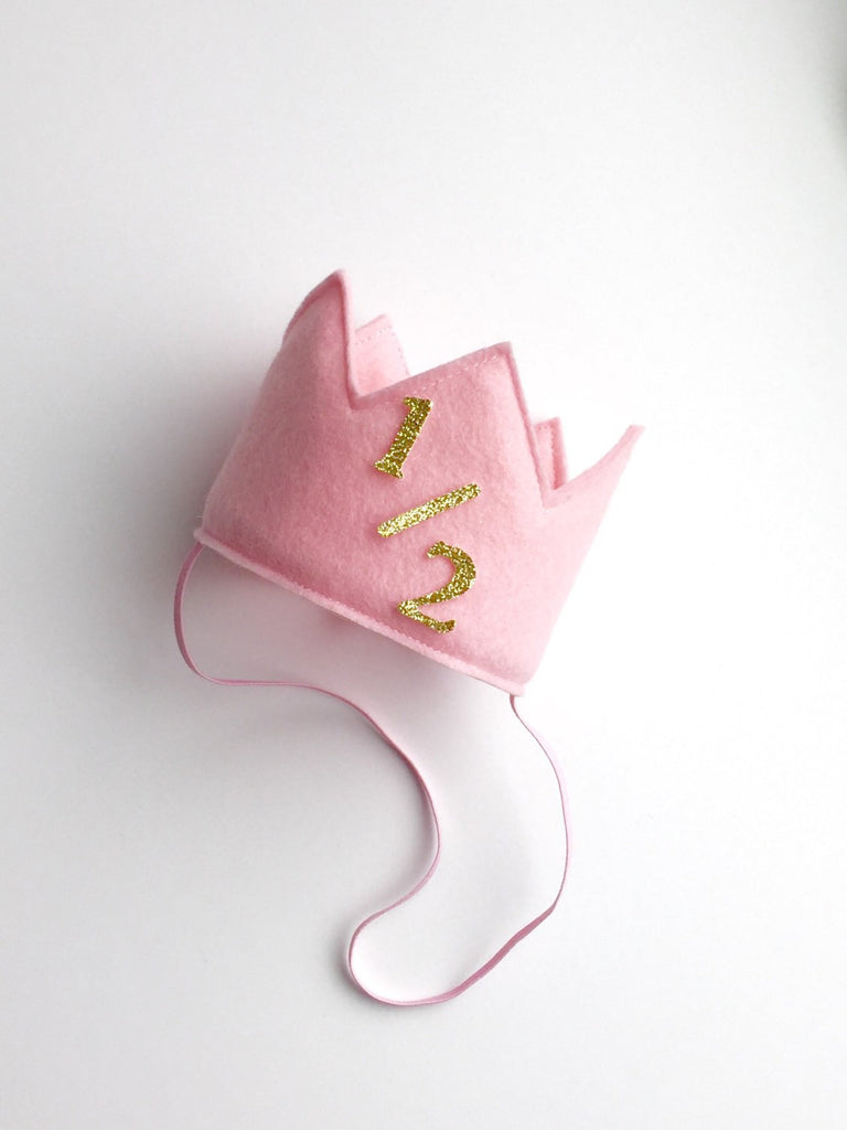 Pink and Gold 1/2 Birthday Girl Crown/ 1/2 Birthday Crown - Super Capes and Tutus, Birthday Hats, [product_tags]