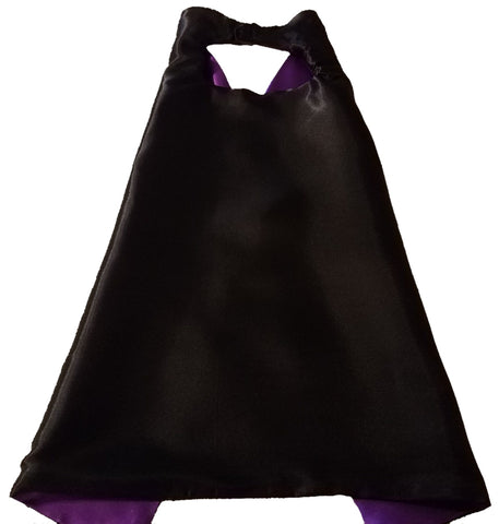 Plain Black and Purple Reversible Superhero Cape - Super Capes and Tutus, Plain Superhero Capes, [product_tags], Super Capes and Tutus