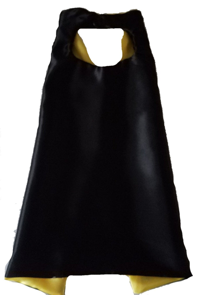 Plain Black and Yellow Reversible Superhero Cape - Super Capes and Tutus, Plain Superhero Capes, [product_tags], Super Capes and Tutus