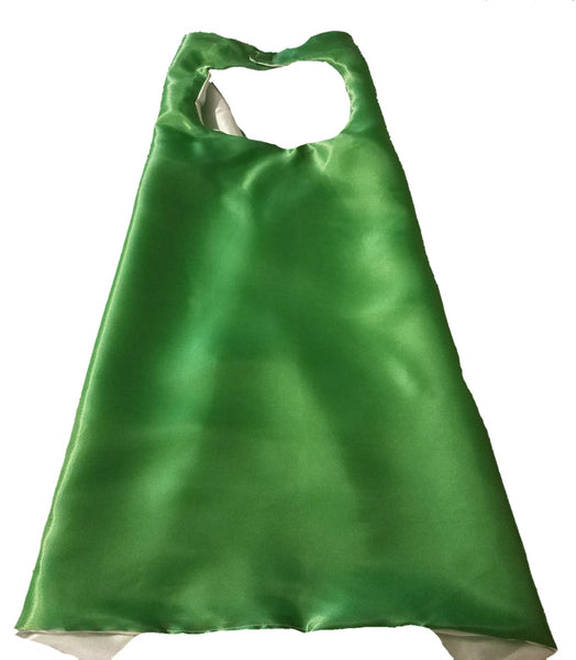 Plain Green and Silver Reversible Superhero Cape - Super Capes and Tutus, Plain Superhero Capes, [product_tags], Super Capes and Tutus