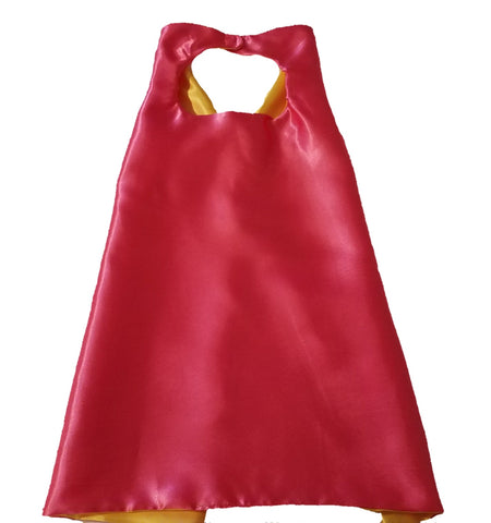 Plain Hot Pink and Yellow Reversible Superhero Cape - Super Capes and Tutus, Plain Superhero Capes, [product_tags], Super Capes and Tutus