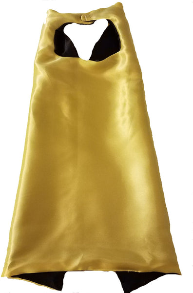 Plain Yellow and Black Reversible Superhero Cape - Super Capes and Tutus, Plain Superhero Capes, [product_tags], Super Capes and Tutus