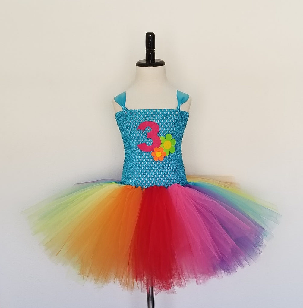 Rainbow Tutu Dress with Number - Super Capes and Tutus, Tutu Dress, [product_tags], Super Capes and Tutus
