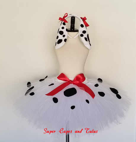 Dalmatian Tutu Skirt with Ears and Tail - Super Capes and Tutus, Tutu Skirt, [product_tags], Super Capes and Tutus