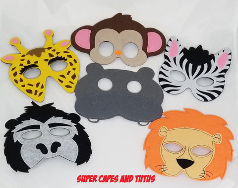 Safari Jungle Animal Masks - 10 Safari Animals to Choose From! - Super Capes and Tutus, Superhero Masks, [product_tags], Super Capes and Tutus