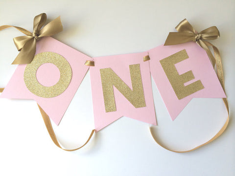 Pink and Gold ONE High Chair Birthday Banner - Super Capes and Tutus, Birthday Party Banners, [product_tags]