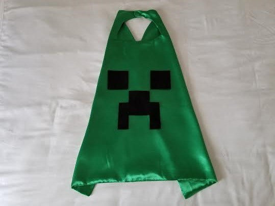 Handmade Minecraft Inspired Creeper Cape/ Party Favors/ Birthday/ Gifts/ Christmas/ Stocking Stuffers - Super Capes and Tutus, Superhero Capes, [product_tags]