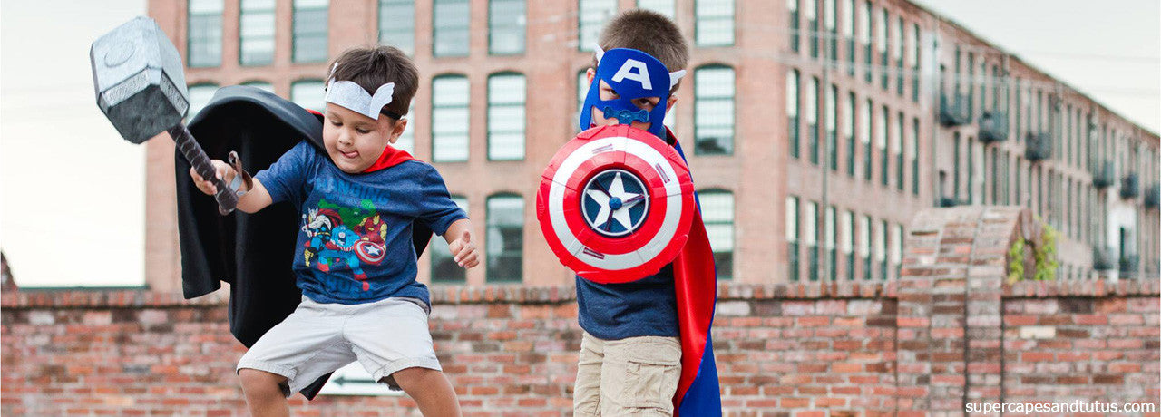 Captain America & Thor Superhero Cape and Mask