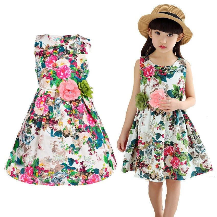 CHILDREN CLOTHES SUMMER DRESSES FOR GIRLS STYLE DRESS FLORAL PRINT COTTON BIRTHDAY CHILDRENS